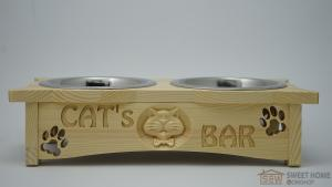 Feeder with bowls PET'S BAR for cats 3D-cat