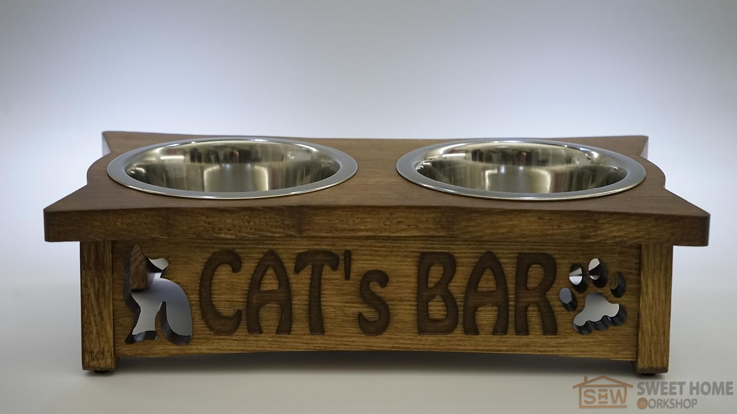 Feeder with dishes PET's BAR for cats with inscription