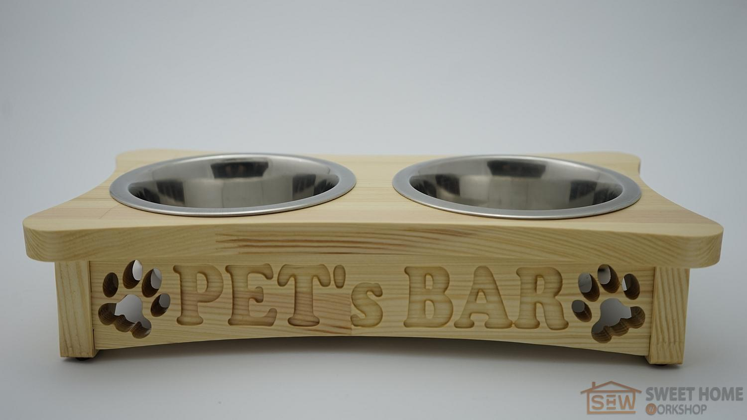 Feeder with dishes PET's BAR for cats and dogs with inscription