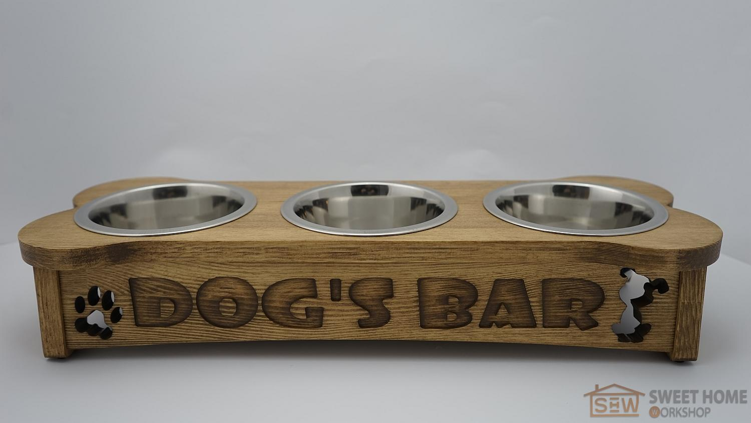 "Dog feeder PET'S BAR ""BONE with inscription"" (3 dishes)"
