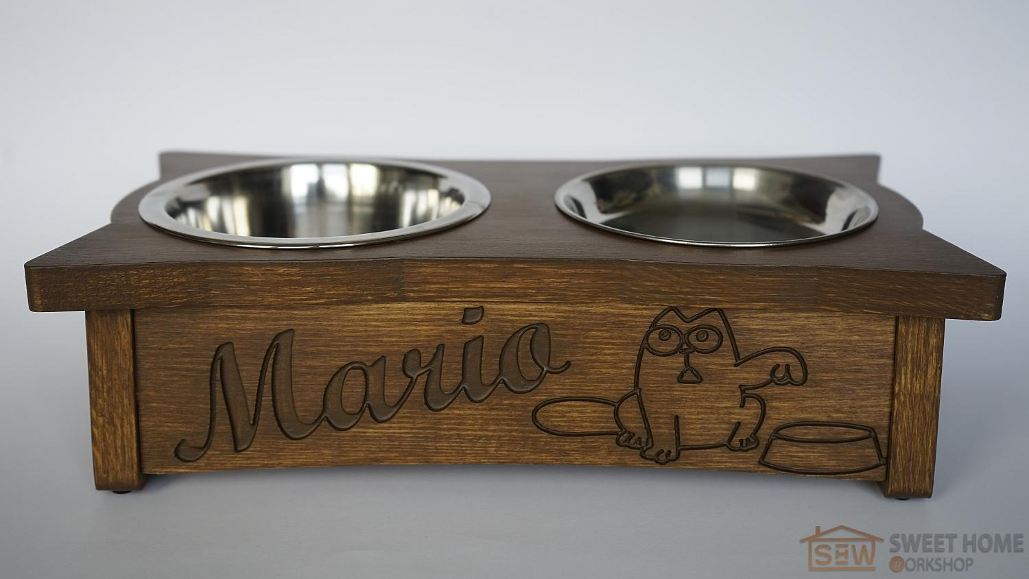 Feeder with dishes PET'S BAR Simon's Cat with individual inscription